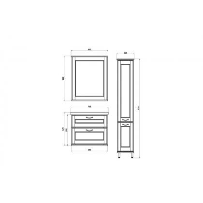 Мебель для ванной Прато 70 (Патина серебро)