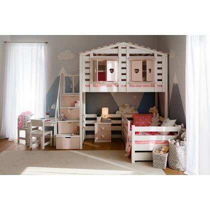 Кровать-домик В-яр Тимберика Кидс №13 с лестницей-комодом
