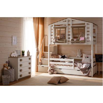 Кровать-домик 2-х ярусная Тимберика Кидс №21 с лестницей-комодом