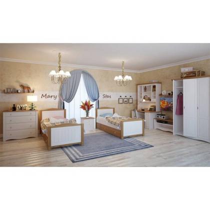 Кровать Милано с выкатным ящиком 90х200 белый воск/антик (ящик антик)