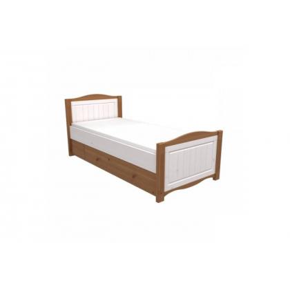 Кровать Милано с выкатным ящиком 90х200 белый воск/антик (ящик белый)