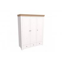 Шкаф 3х дверный с глухими дверями Бейли белый воск/антик