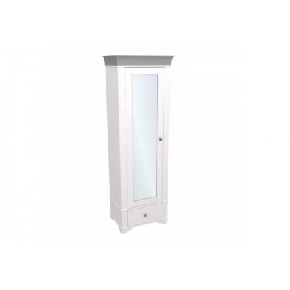 Шкаф 1-дверный с зеркалом Бейли белый воск/антрацит
