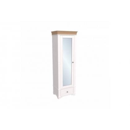 Шкаф 1-дверный с зеркалом Бейли белый воск/антик
