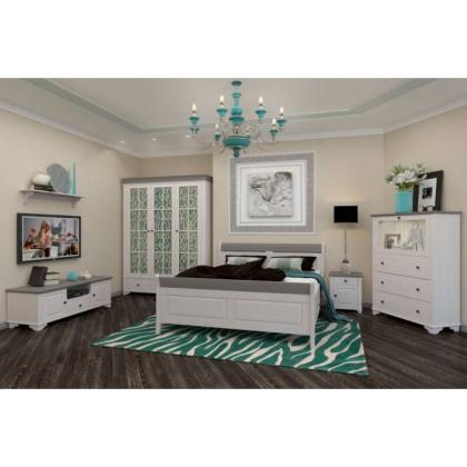 Кровать Бейли с ящиками 160х200 белый воск/антрацит