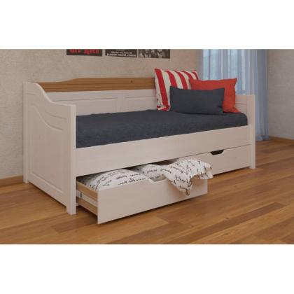 Кровать-диван Бейли с выдвижными ящиками 90х200 белый воск/антик
