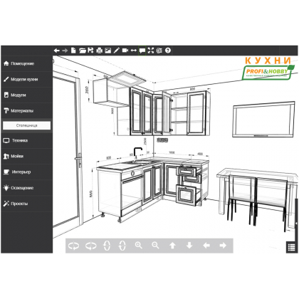 Кухня 2 х 1.4 х 2.32 м, массив сосны, без покраски