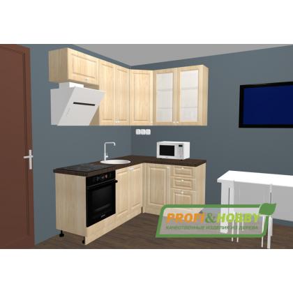Кухня 2 х 1.4 х 2.32 м, массив сосны, бесцветный лак