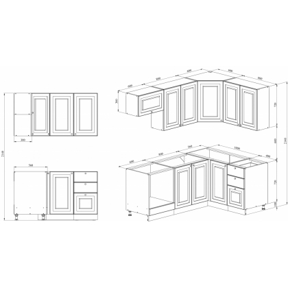Кухня 2 х 1.4 х 2.14 м, массив сосны, эмаль