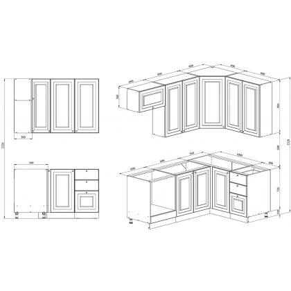 Кухня 2 х 1.4 х 2.32 м, массив сосны, эмаль