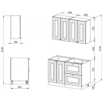 Кухня 1.2 х 2.14 м, массив сосны, бесцветный лак