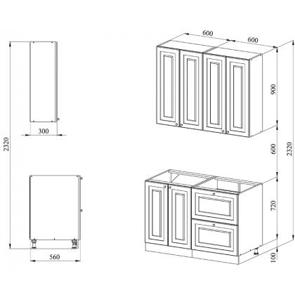 Кухня 1.2 х 2.32 м, массив сосны, без покраски