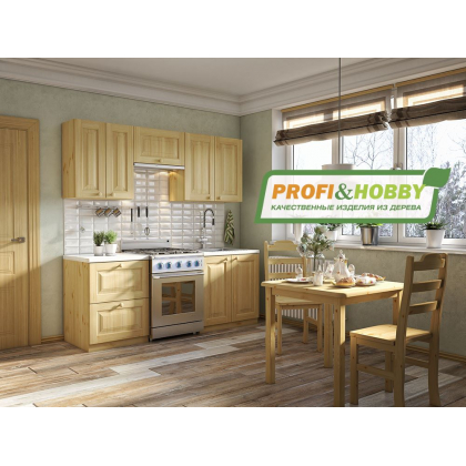 Кухня 2 х 2.14 м, массив сосны, бесцветный лак