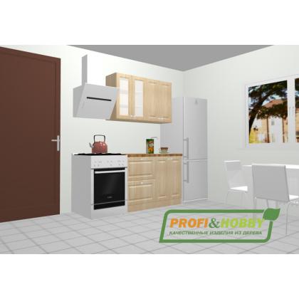 Кухня 1.2 х 2.14 м, массив сосны, без покраски