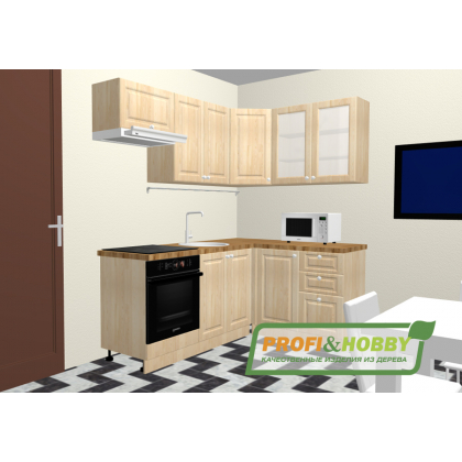 Кухня 2 х 1.4 х 2.14 м, массив сосны, без покраски