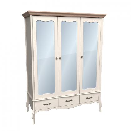 Шкаф 3х дверный ЛеБо с зеркальными дверями бежевый воск/антик