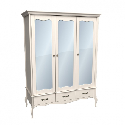 Шкаф 3х дверный ЛеБо с зеркальными дверями бежевый воск