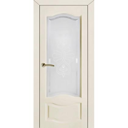 Межкомнатная дверь ОЛ. 33, с остеклением - цвет Оливковая эмаль - массив ольхи