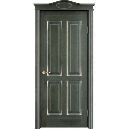 Межкомнатная дверь ОЛ. 15, глухая - цвет Малахит с патиной - массив ольхи