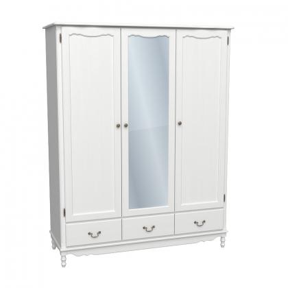 Шкаф 3-х дверный с зеркалом Верден белый воск