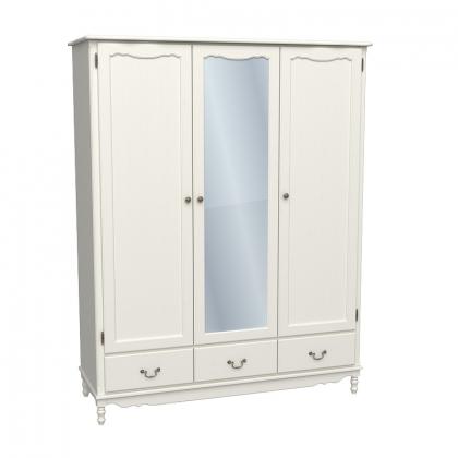 Шкаф 3-х дверный с зеркалом Верден слоновая кость